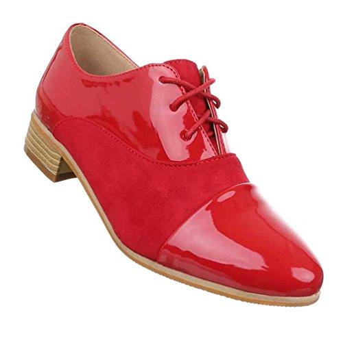 Damen Halbschuhe Schuhe Schnürer Loafar Slippper Rot 39