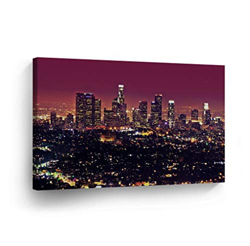 SmileArtDesign Los Angeles Wall Art Skyline City View at Purple Night Canvas Print California Home Decor Artwork Gallery Wrapped Wood Stretched and Ready to Hang -%100 Handmade in The USA - 19x28