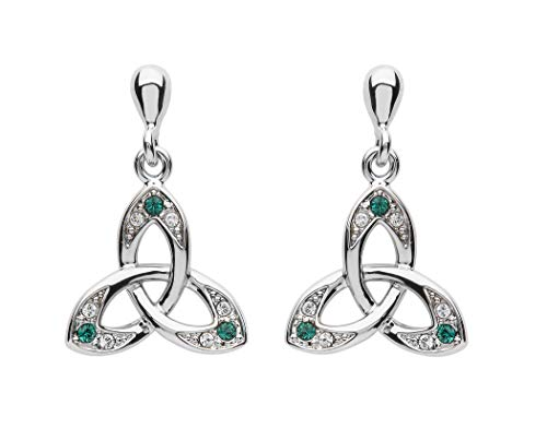 Platinum Plated Trinity Knot-Drop Earrings- Green And Clear Swarovski Crystal