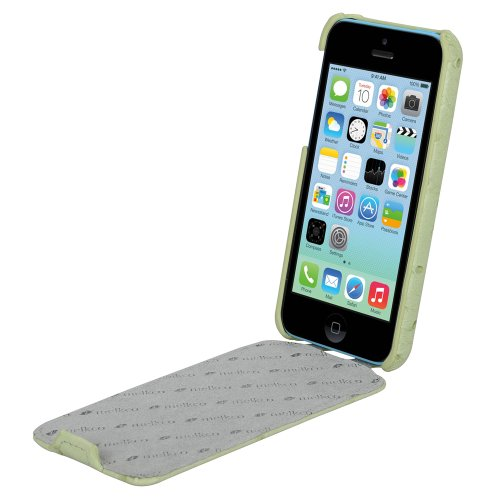 Melkco APIPONLCJT1PGOH Jacka Type Ostrich Print Pattern Premium Leder Case für Apple iPhone 5C pale grün