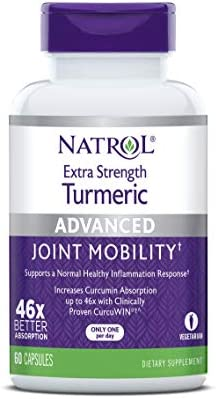 Natrol Extra Strength Turmeric Capsules, Supports Cellular, Inflamatory, Heart, Joint and Brain Health, Clinically Proven CurcuWIN , 46x Better Absorpotion, 60 Count