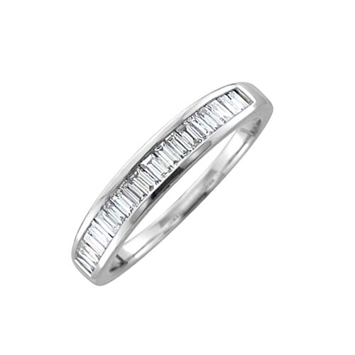 Set Baguette Diamond Wedding Band - 14K White Gold Baguette-cut Diamond Wedding Anniversary Ring Band (1/2 carat)