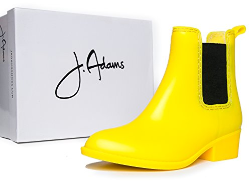 J. Adams Vestlige Ankelen Regn Boot- Chelsea Lav Hæl Uformell Gelé Tøffel Ð Komfortabel Cowgirl Gå Slip På Boot Gul Matt