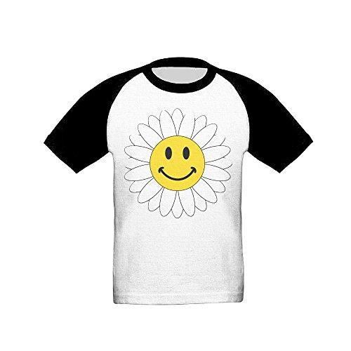 Osmantus Toddler's Smiley Face Flower Raglan T-Shirts 3/4 Sleeves Baseball Tee 3 Toddler ()