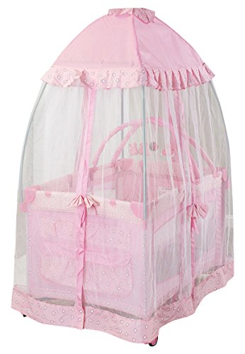 - Big Oshi Portable Playard Deluxe Bundle - Nursery Center With Canopy Net Topper - Medium Size - Lightweight, Compact Design, Includes Carry Bag - Perfect for Indoor or Outdoor Backyard Use, Pink