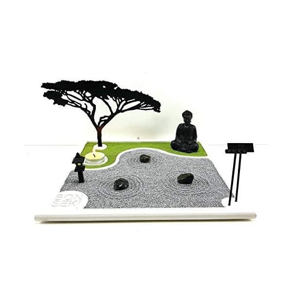 Bonseki® Giardino Zen da tavolo 30 x 30 in legno, proietta l'ombra del bonsai sulla parete, personalizzabile. 1 spesavip