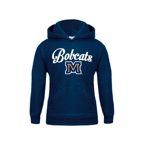 Montana State Youth Navy Fleece Hoodie Arched Bobcats Script w// M