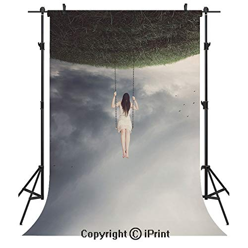 Surrealistic Photography Backdrops,Upside Down World of A Sad Woman on the Swing Depression Picture Decorative,Birthday Party Seamless Photo Studio Booth Background Banner 5x7ft,Purple Grey Reseda Gre