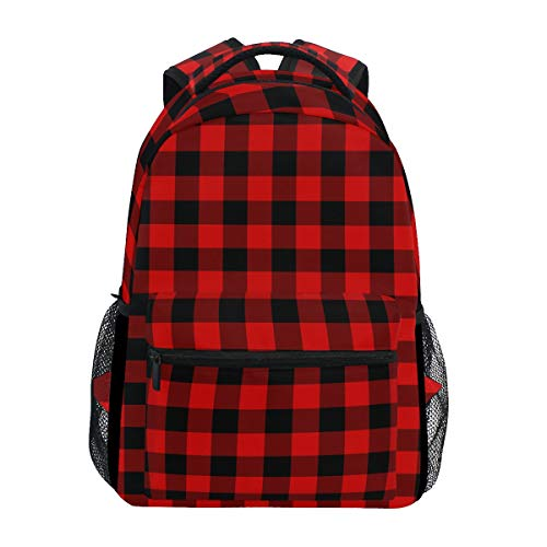 (Backpack Black Red Buffalo Plaid Canvas School Bags Laptop Daypack)