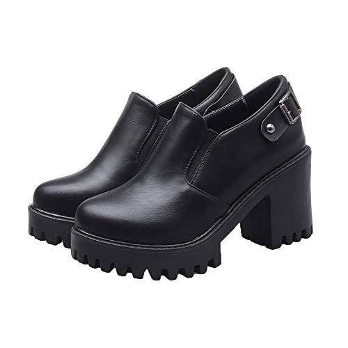 PU TSFDH005709 Femme Couleur Talon Haut Noir Légeres Chaussures Unie à AalarDom Tire Cuir 0n1Tqwgq