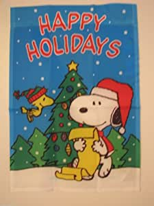 """PEANUTS SNOOPY AND WOODSTOCK HAPPY HOLIDAYS FLAG25""""x38""""SNOOPY SANTA READING A CHRISTMAS LISTBRAND NEW AND SEALED"""