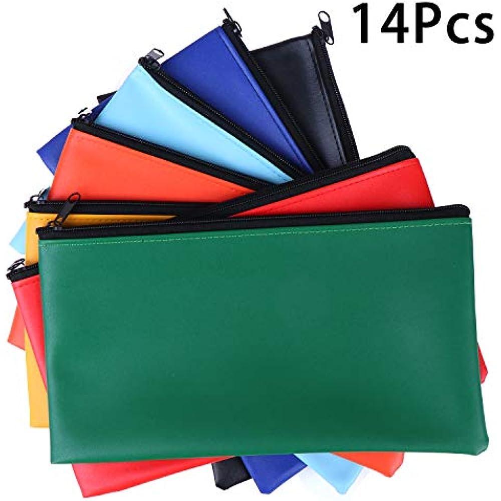 11x6in Black+Blue Xgood 6 Pieces Bank Deposit Money Bag Leatherette Securit Vinyl Zipper Pouches Wallet Utility Zipper Coin Bags for Cash Money
