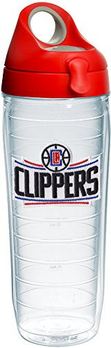 Tervis 1231533 NBA Los Angeles Clippers Primary Logo Tumbler with Emblem and Red with Gray Lid 24oz Water Bottle, Clear by Tervis
