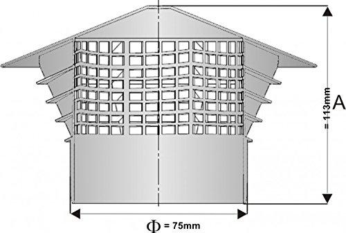 Entl/üftungshaube Dunsthut Dachentl/üfter original Univent DN 75 f/ür 75mm auf Rohr