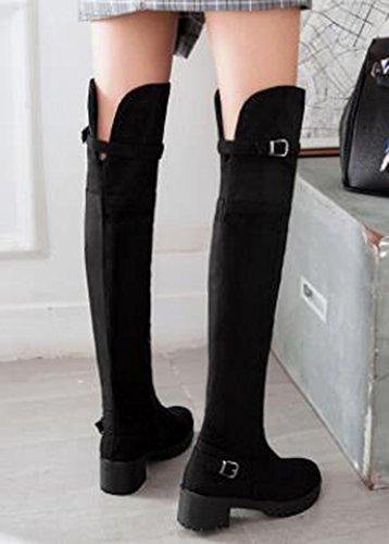 Idifu Damesmode Gesp Lage Dikke Hak Boven De Knie Hoge Laarzen Lange Booties Met Zijrits Zwarte Microsuede