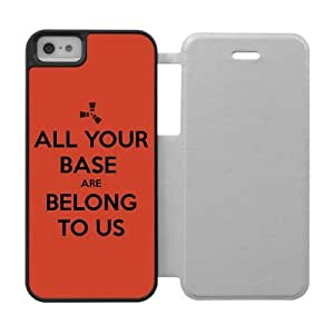 Generic Personalized Otterbox-- Design Keep Calm All Your Base Are Belong To Us Custom Silicone Rubber and Plastic three color White Black and Red Case Cover for iPhone5 iPhone5S