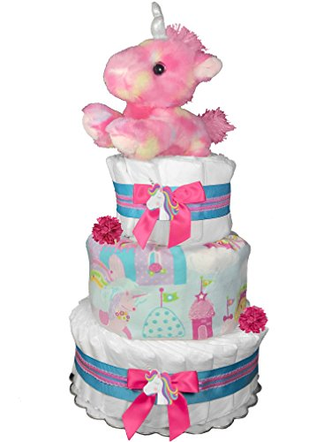 Unicorn Diaper Cake for a Girl - Newborn Gift - Baby Shower Centerpiece - Pink and (3 Tier Diaper Cake)