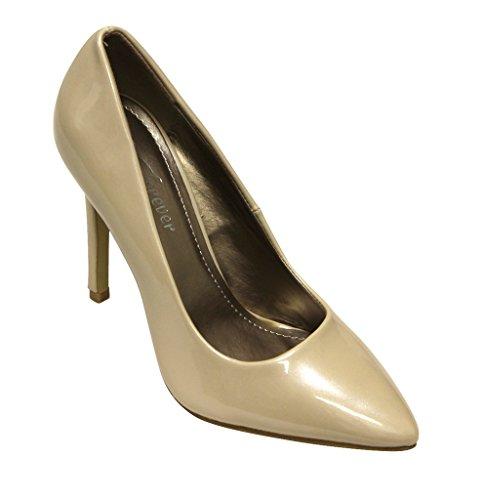 Forever Katelyn-10 Womens Pointy Toe High Heel Metallic Patent Stiletto Pumps Beige 5 zd00el