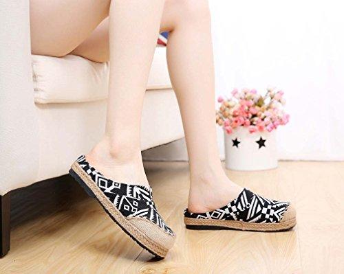 Sandal Printed Slip Black Aztec Espadrille Slippers Womens Jute on Soojun qgv0w