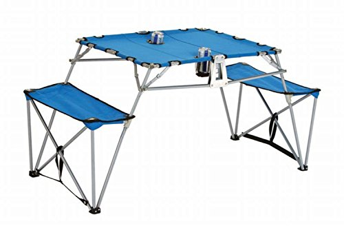 Portable Fold-up Table and Bench with Cupholders Backpack Set-Blue by CC Home Furnishings