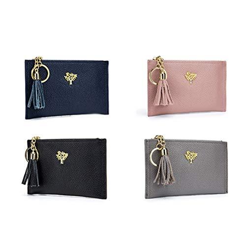Holder Card Cuero Genuino Señoras Fenical Las Case Wallet azul Con Monedero Cremallera Llavero Mini Mujeres Oscuro qwSECP