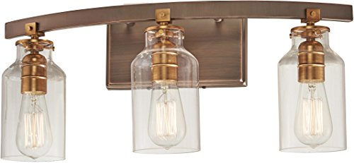 Minka Lavery Wall Light Fixtures 3553-588 Morrow Wall Bath Vanity Lighting, 3-Light 180 Watts, Bronze