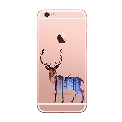 Matop Compatible/Replacement for iPhone 6s 6 Case Crystal Clear Transparent Ultra Thin Slim Shockproof Protective Soft Silicone Bumper Cover Cute TPU for iPhone 6s iPhone 6 4.7 inch (elk 2)