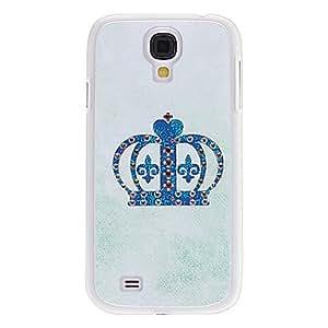 Crown Caso duro del patrón azul con el Rhinestone para Samsung i9500 Galaxy S4