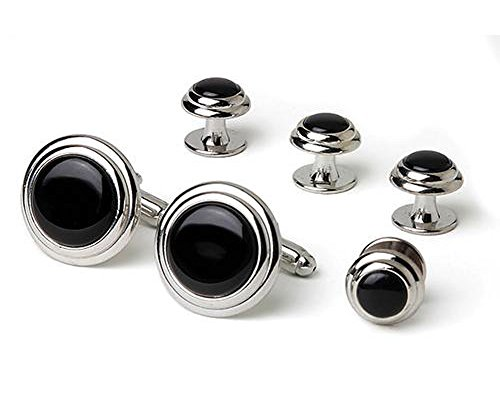 Two-Tier-Faux-Onyx-Silver-Tuxedo-Cufflinks-and-Studs