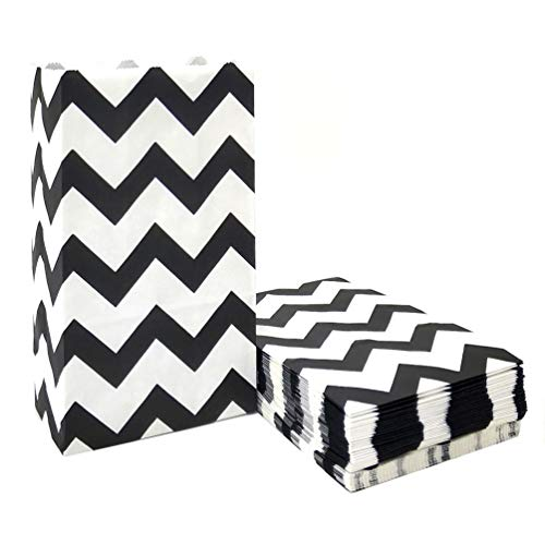 ADIDO EVA 50 PCS Paper Party Favor Bags Black Chevron Paper Bags Lunch for Sweets Biscuits Nuts Chocolates Christmas Gifts Birthday Wedding Party (5.1 x 3.1 x 9.4 in)]()