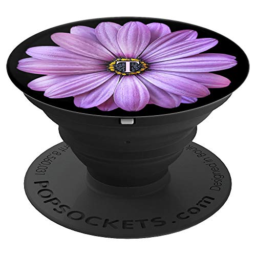 (Initial T Letter Daisy Purple Floral Design Flower - Daisy - PopSockets Grip and Stand for Phones and Tablets)