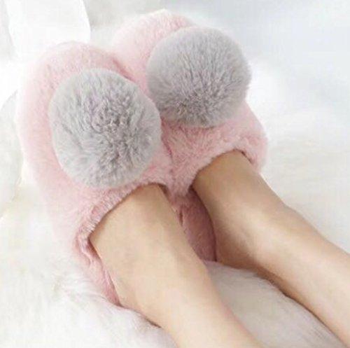 Cattior Womens Pompons En Peluche Chaussons Chauds Maison Intérieure Pantoufles Chambre Rose
