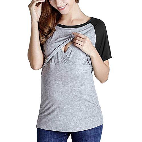 Women's Maternity Nursing Tops - Raglan Short Sleeve Double Layer Breastfeeding Shirts Comfy Tees (Black, ()