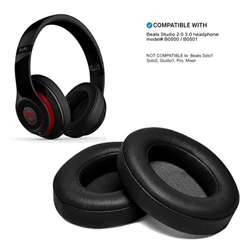 (Black Replacement Earpads, AGPTEK 2 Pieces Foam Ear Pad Cushion Compatible with Beats Studio 2.0 Wired/Wireless B0500 B0501 Headphone & Beats Studio 3.0)