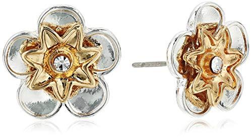 Napier Twotone Flower Button Earrings, 0