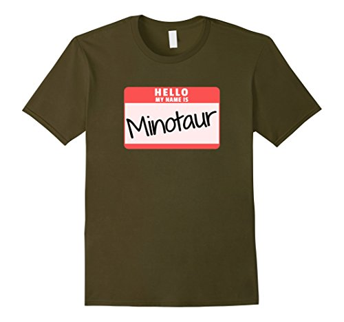 Greek God Male Costume (Mens Hello My Name is Minotaur Halloween Monster Costume T-Shirt 2XL Olive)
