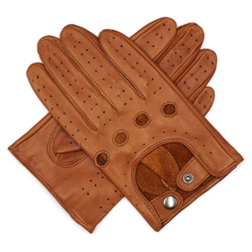 Harssidanzar Mens Leather Driving Gloves Unlined, Saddle, L