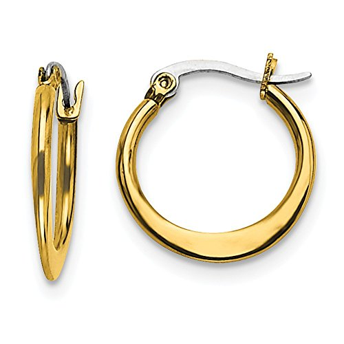 Stainless Steel Gold Plated Tapered 19mm Hoop Earrings Ear Hoops Set Fashion Jewelry Gifts For Women For Her ()