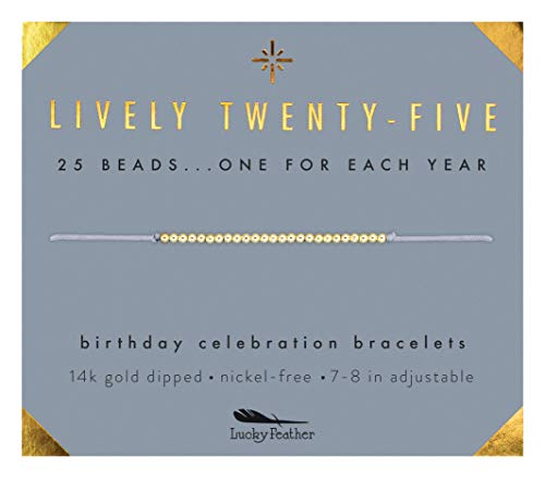Lucky Feather Happy 25th Birthday Gifts for Women - 14K Gold Dipped Beads Bracelet on Adjustable 7