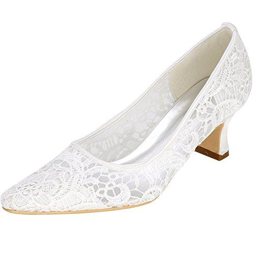Loslandifen Womens Mitten Klackar Elegant Punkt Tå Pumpar Bröllop Spets Brud Skor Vita