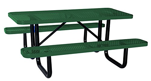 6' Rectangular Picnic Table, Expanded Metal, Green (72