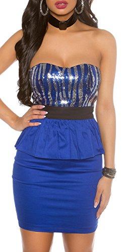 Party-Kleid mit Pailletten u. Schößchen, blau