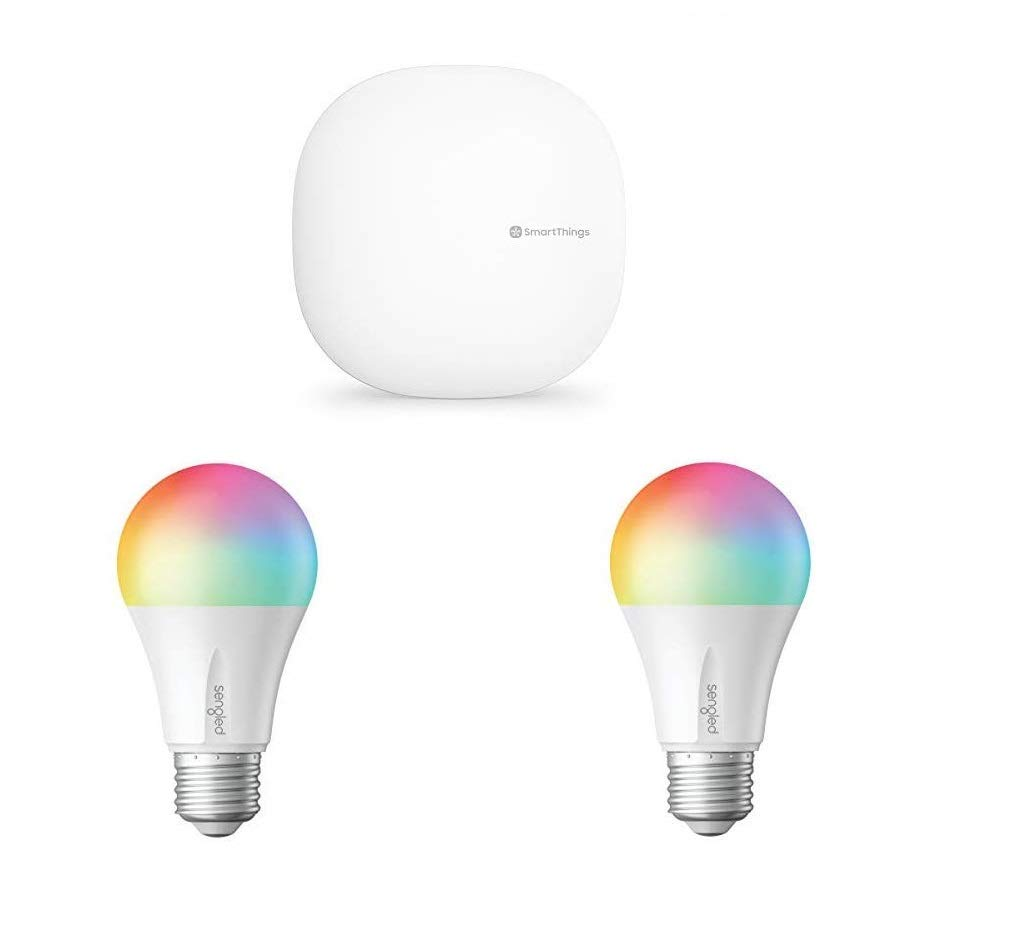 Samsung SmartThings Hub 3rd Generation Smart Home Automation Hub Home Monitoring Smart Devices with Sengled Smart LED Multicolor Bulb, Hub Required