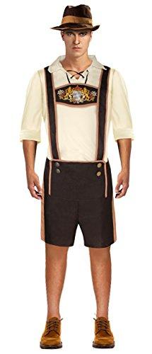 Bavarian Guy Plus Costumes (Lusiya Men's Plus Size Bavarian Guy Oktoberfest Costume Brown XXX-Large)