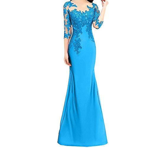 Festlichkleider Spitze Trumpet Abendkleider Blau Langarm Etuikleider Rot Damen Charmant Meerjungfrau P7Bwqvg7