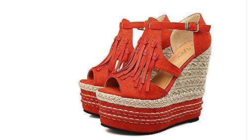 LvYuan Sandalias del verano de las mujeres / talón ultra atractivo / plataforma impermeable / paja trenzando / talón de cuña / Peep-toe la borla de la borla / oficina y carrera / zapatos romanos Orange