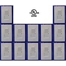 Dimmer LED switch light 12 pack: with 12 White Wall Plates, Single Pole, 120v Dimmable LED Lights Max 150 watt, Light Slide Dimmer with ON/OFF Switch, UL Certified, Available: Two Pack, 3 Pack, 10 Pack, Contractor Pack