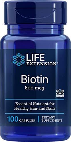 Life Extension Biotin 600 mcg, 100 Capsules (Packaging may vary)