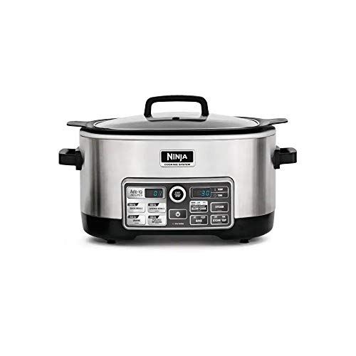 Ninja Auto-iQ Multi/Slow Cooker with 80-Pre-Programmed Auto-iQ Recipes for Searing, Slow Cooking, Baking and Steaming with 6-Quart Nonstick Pot (CS960) (Renewed) (Ninjas Slow Cooker)