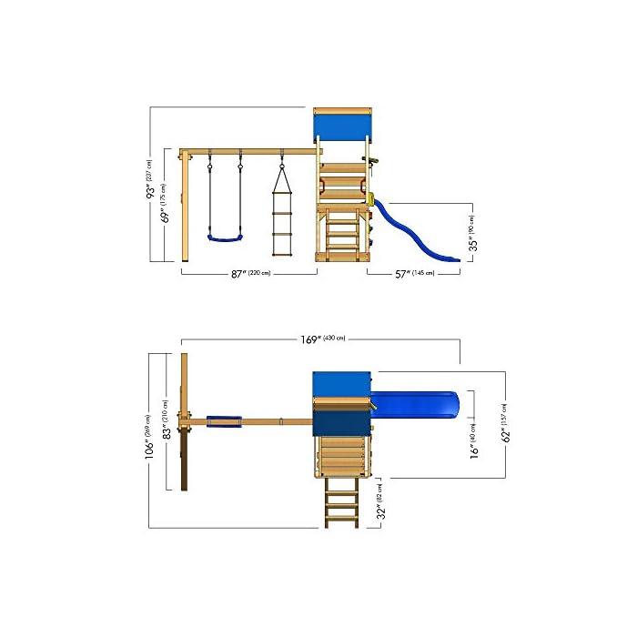 41iejypAHXL WICKEY Torre de escalade con columpio y tobogán - Calidad y seguridad aprobada - Varias opciones de montaje Madera maciza impregnada a presión - Poste 9x4,5cm - Poste de columpio 9x9cm - Cajón de arena integrado Instrucciones de montaje detalladas - Muro para trepar - Todos los tornillos necesarios - Toldo